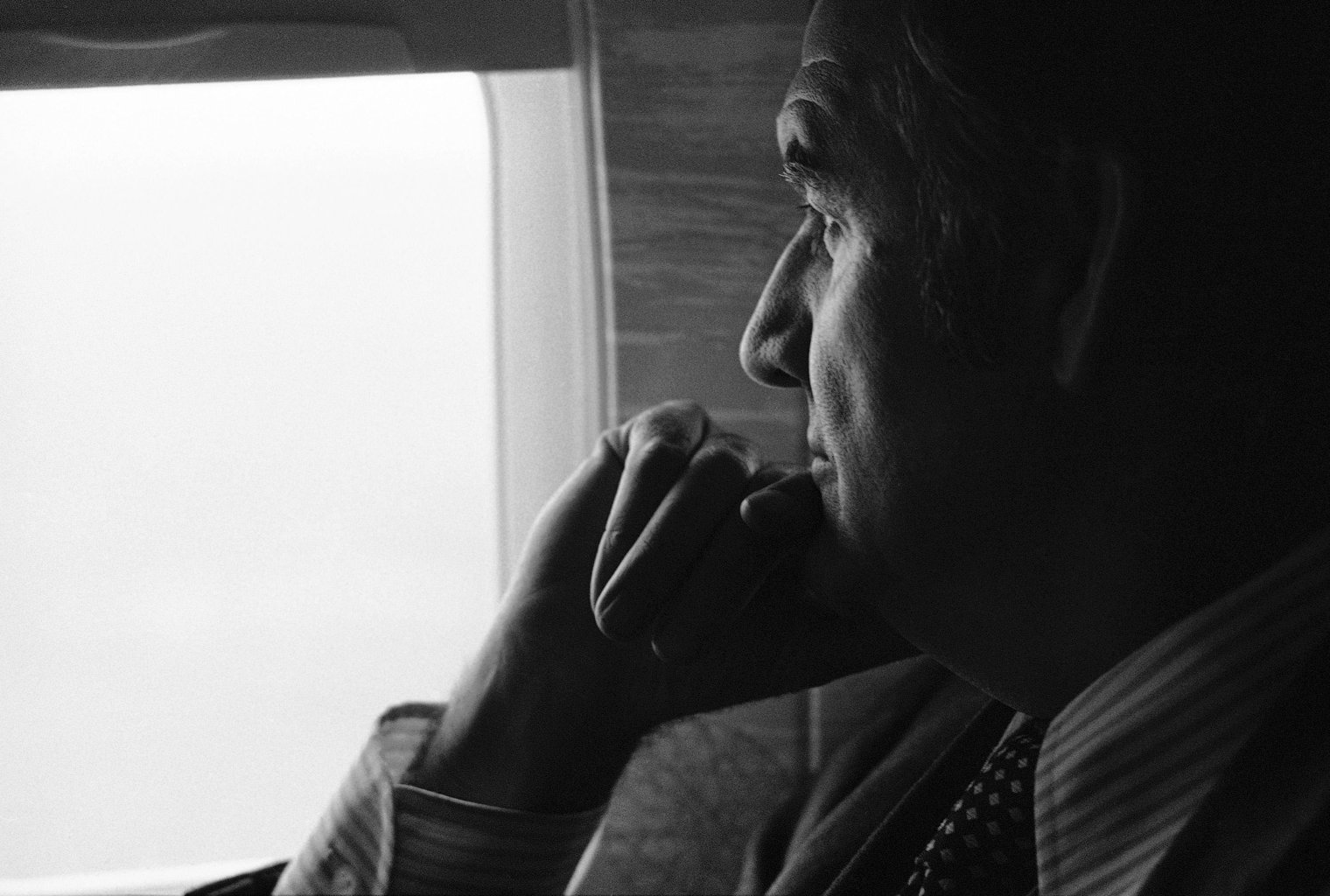 In this March 25, 1974 file photo, U.S. Senator George McGovern,looks out an airplane window on a flight to Pierre, S.D., to begin a four-day campaign swing. A family spokesman says, McGovern, the Democrat who lost to President Richard Nixon in 1972 in a historic landslide, has died at the age of 90. According to a spokesman, McGovern died Sunday, Oct. 21, 2012 at a hospice in Sioux Falls, surrounded by family and friends. (AP Photo, File)