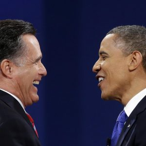 Republican president candidate former Massachusetts Gov. Mitt Romney and President Barack Obama meet at the end of the last debate at Lynn University, Monday, Oct. 22, 2012, in Boca Raton, Fla.