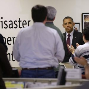 President Barack Obama visits the Red Cross National Relief Center