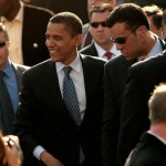 President Barack Obama and his Secret Service detail.