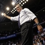 Republican presidential candidate and former Massachusetts Gov. Mitt Romney waves at the end of a New Hampshire campaign rally at Verizon Wireless Arena in Manchester, N.H., Monday, Nov. 5, 2012. (AP Photo/Charles Dharapak)