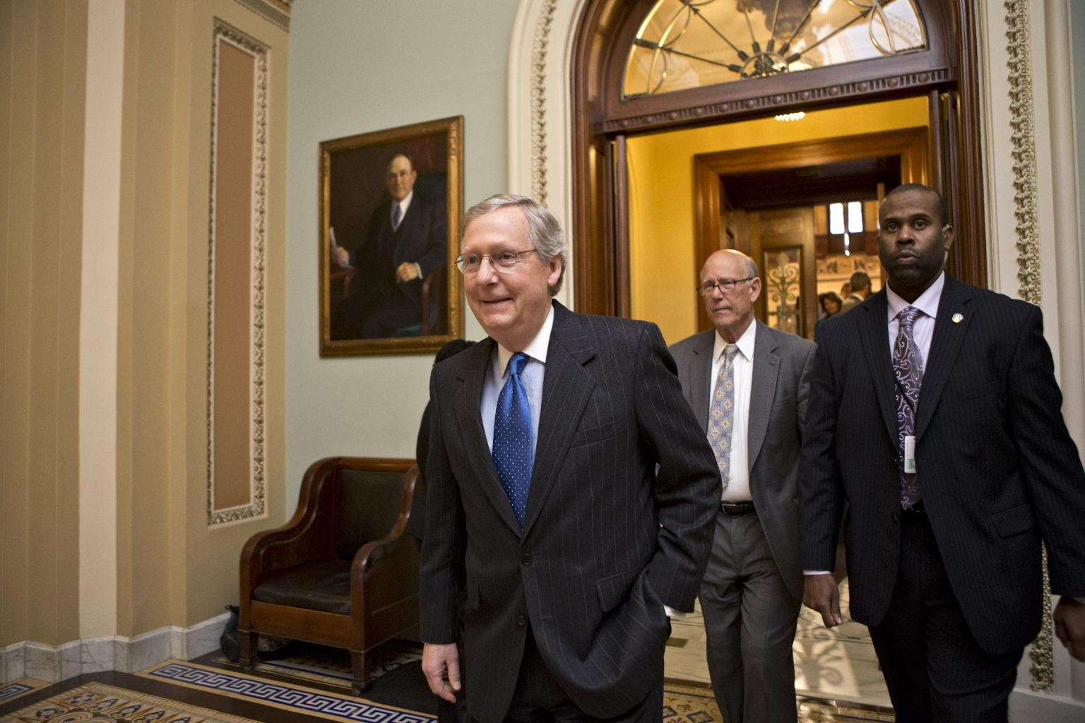 Senate Minority Leader Mitch McConnell and Sen. Pat Robers  (AP Photo/J. Scott Applewhite)