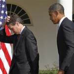 President Barack Obama (R) walks off stage with Treasury Secretary Tim Geithner after speaking about his meeting on infrastructure investment, in the Rose Garden of the White House in Washington in this October 11, 2010 file photo. Geithner&#039;s plans to leave near the end of January 2013 put the White House in a tricky spot, depriving the Obama administration of its longest-serving economic adviser for its next fiscal showdown with Congress. 