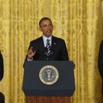President Barack Obama announces that White House Chief of Staff Jack Lew (R) will be his nominee for U.S. Treasury Secretary, replacing Timothy Geithner (L), in the East Room of the White House in Washington, January 10, 2013. 