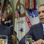 shows President Barack Obama, accompanied by House Speaker John Boehner of Ohio, speaking to reporters in the Roosevelt Room of the White House in Washington, as he hosted a meeting of the bipartisan, bicameral leadership of Congress to discuss the deficit and economy. Most Americans think jarring economic problems would erupt if lawmakers fail to increase the government's borrowing limit. Yet they're torn over how and even whether to raise it, leaning slightly toward Republican demands that any boost be accompanied by spending cuts, according to an Associated Press-GfK poll.  (AP Photo/Carolyn Kaster, File)