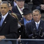 Speaker John Boehner of Ohio listen as President Barack Obama delivers his Inaugural address at the ceremonial swearing-in at the U.S. Capitol during the 57th Presidential Inauguration in Washington, Monday, Jan. 21, 2013.