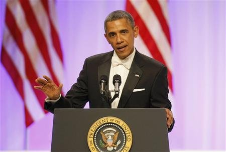 President Barack Obama speaks at the Commander in Chief's Ball during presidential inauguration ceremonies in Washington, January 21, 2013. REUTERS/Rick Wilking