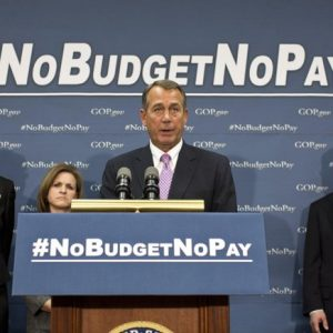 In this Tuesday, Jan. 22, 2013 file photo, Speaker of the House John Boehner, R-Ohio, and the House GOP leadership speak to reporters after a closed-door meeting on avoiding a potential debt crisis, at the Capitol in Washington. Joining Boehner, from left, are Rep. Cathy McMorris Rodgers, R-Wash., chair of the Republican Conference, Rep. Lynn Jenkins, R-Kan., and House Majority Leader Eric Cantor, R-Va. House Republicans have said that they will not agree to a long-term debt ceiling increase unless the Senate works with them to pass a budget deal and have also threatened to withhold Congress's paychecks if either chamber fails to adopt a budget by April 15.  (AP Photo/J. Scott Applewhite, File)