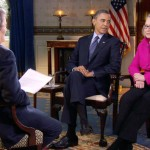 "President Barack Obama, center, and Secretary of State Hillary Rodham Clinton speak with ""60 Minutes"" correspondent Steve Kroft, left, in the Blue Room of the White House in Washington. The interview will air Sunday, Jan. 27 during the ""60 Minutes"" telecast on CBS. (AP Photo/CBS, File)"