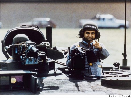 Doomed presidential candidate Michael Dukakis and the staged photo that helped kill his campaign. (AP Photo)