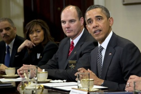 President Barack Obama meets with representatives from Major Cities Chiefs Association and Major County Sheriffs Association in the Roosevelt Room of the White House. (AP)