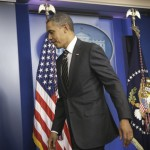 President Barack Obama leaves the James Brady Press Briefing Room of the White House in Washington, Tuesday, Feb. 5, 2013, where he asked Congress to come up with tens of billions of dollars in short-term spending cuts and tax revenue to put off the automatic across the board cuts that are scheduled to kick in March 1. 