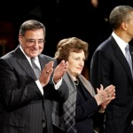 Outgoing Defense Secretary Leon Panetta, left, and his wife Sylvia, center, applaud as they stand with President Barack Obama during Armed Forces Farewell Ceremony to honor Panetta, Friday, Feb. 8, 2013, at Joint Base Myer-Henderson Hall in Arlington, Va.  (AP Photo/Ann Heisenfelt)