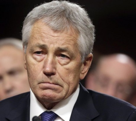 Former Nebraska Republican Sen. Chuck Hagel, President Obama's choice for defense secretary, testifies before the Senate Armed Services Committee during his confirmation hearing on Capitol Hill in Washington.  (AP Photo/J. Scott Applewhite, File)