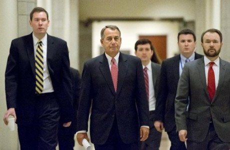 House Speaker John Boehner of Ohio, walks to meet with reporters on Capitol Hill in Washington, Thursday, Feb. 14, 2013.  (AP Photo/J. Scott Applewhite)