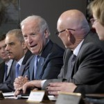 Vice President Joe Biden, with Attorney General Eric Holder at left, speaks during a meeting with victims&#039; groups and gun safety organizations in the Eisenhower Executive Office Building on the White House complex in Washington. Biden plans to speak at a gun violence conference a few miles from the scene of last years Newtown, Conn., school shooting massacre on Thursday, Feb. 21, 2013. 
