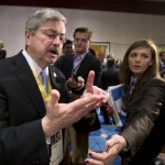 Iowa Gov. Terry Branstad, left, speaks to reporters during a break at the opening session of the National Governors Association 2013 Winter Meeting in Washington, Saturday, Feb. 23, 2013. Exasperated governors who are trying to gauge the fallout from impending federal spending cuts say Washington&#039;s protracted budget stalemate could seriously undermine the economy and stall gains made since the recession. (AP Photo/Manuel Balce Ceneta)