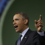 President Barack Obama gestures as he speaks about automatic defense budget cuts during a visit to Newport News Shipbuilding, a division of Huntington Ingalls Industries in Newport News, Va. Obama is pulling out all the stops to warn just what could happen if automatic budget cuts kick in. Americans are reacting with a collective yawn. (AP Photo/Charles Dharapak)
