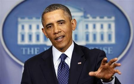 President Barack Obama speaks about the sequester after a meeting with congressional leaders at the White House in Washington. REUTERS/Kevin Lamarque