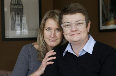 Sandy Stier, left, and Kris Perry, the couple at the center of the Supreme Court's consideration of gay marriage, at their home in Berkeley, Calif. (AP Photo/Jeff Chiu)