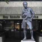 The statue of a scout stands in the entrance to Boy Scouts of America headquarters in Irving, Texas. REUTERS/Tim Sharp