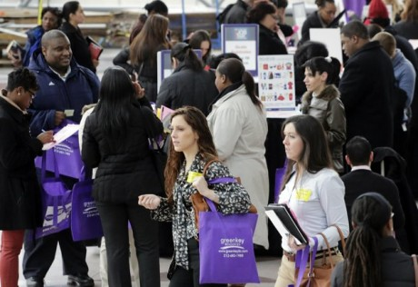 job seekers attend a health care job fair in New York.  (AP Photo/Mark Lennihan, File)