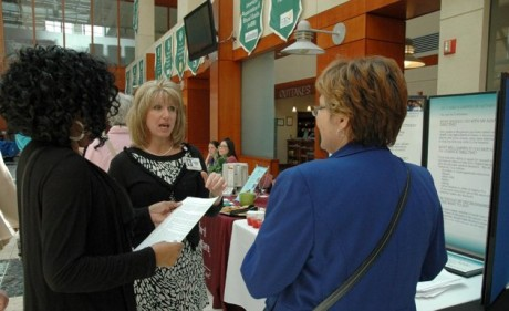 Andrea Vassel of Mary Washington Healthcare explains the benefits of an advance directive at Mary Washington Hospital in Fredericksburg, Va., as part of National Healthcare Decisions Day on April 16.   (AP Photo/Mary Washington Healthcare)