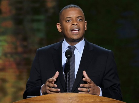 Charlotte Mayor Anthony Foxx addresses the Democratic National Convention in Charlotte, N.C. (AP Photo/J. Scott Applewhite, File)
