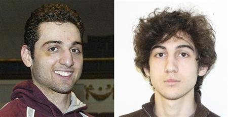 Tamerlan Tsarnaev (L), 26, is pictured in 2010 in Lowell, Massachusetts, and his brother Dzhokhar Tsarnaev, 19, is pictured in an undated FBI handout photo in this combination photo.  (REUTERS/The Sun of Lowell, MA/FBI/Handout)