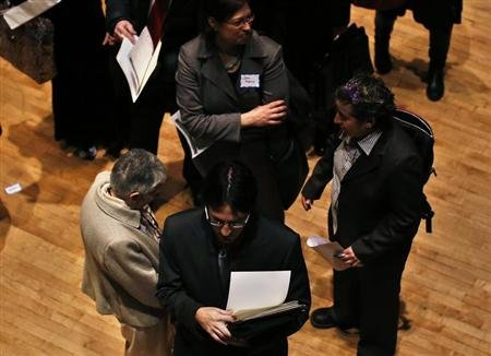 People wait in line to meet a job recruiter at the UJA-Federation Connect to Care job fair in New York.  (REUTERS/Shannon Stapleton)