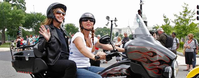 Sarah Palin hanging with the motorcycle types at Rolling Thunder.