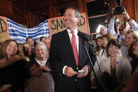 Former South Carolina Governor Mark Sanford celebrates his victory with a large crowd in the South Carolina first district congressional race at Liberty Tap Room in Mount Pleasant, South Carolina. (REUTERS/Randall Hill)