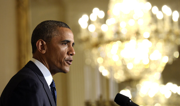 President Barack Obama speaks on the Internal Revenue Service's targeting of conservative groups for extra tax scrutiny in the East Room of the White House in Washington, Wednesday May 15, 2013. Obama announced the resignation of Acting IRS Commissioner Steven Miller, the top official at the IRS. (AP Photo/Susan Walsh)