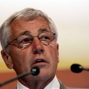 "Defense Secretary Chuck Hagel delivers his keynote address on ""The US Approach to Regional Security"" at the International Institute for Strategic Studies Shangri-la Dialogue, or IISS Asia Security Summit in Singapore. (AP Photo/Wong Maye-E)"