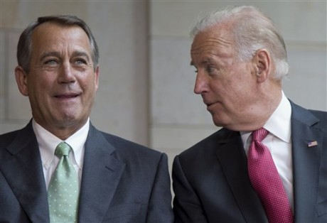 House Speaker John Boehner of Ohio and Vice President Joe Biden talk during ceremony to dedicate the statue of Frederick Douglass, Wednesday, June 19, 2013, in the Emancipation Hall of the United States Visitor Center on Capitol Hill in Washington. (AP Photo/Carolyn Kaster)