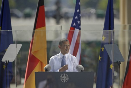 President Barack Obama speaks in front of the iconic Brandenburg Gate in Berlin Germany. (AP Photo/Pablo Martinez Monsivais)
