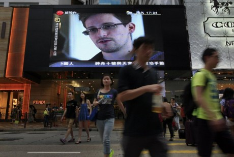 Snowden's image on display in Hong Kong (AP)