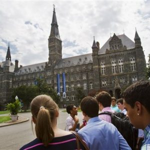 Prospective students tour Georgetown University's campus in Washington,  (AP Photo/Jacquelyn Martin)
