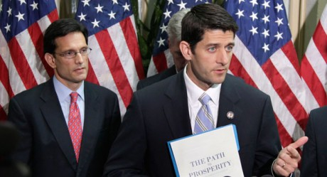 Eric Cantor and Paul Ryan: Catering to the ultra-rich at Koch gathering. (AP)