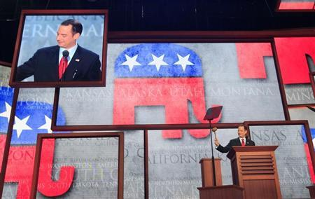 Republican National Committee Chairman Reince Priebus gavels the opening of the second session of the 2012 Republican National Convention in Tampa