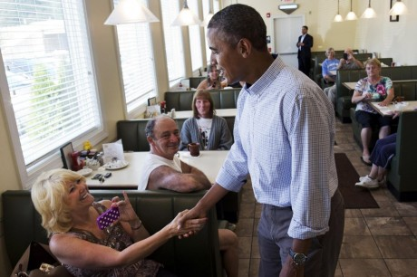 President Obama greets patrons at Bingham's Family Restaurant in Lenox, PA. (AP)