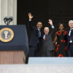 President Barack Obama, former President Jimmy Carter, First Lady Michelle Obama and former President Bill Clinton. (AP/Evan Vucci)
