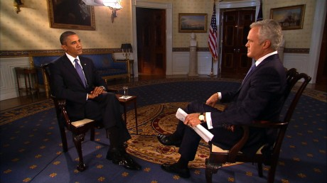 CBS News anchor Scott Pelley interviews President Obama (CBS)