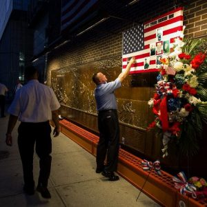 The Firefighters Memorial next to the World Trade Center. (AP Photo/Craig Ruttle)