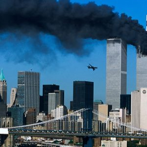 The World Trade Center as the second plane is about to strike.