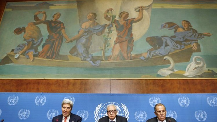 Secretary of State John Kerry (left) speaks on September 13, 2013 during a press conference with UN special envoy Lakhdar Brahimi (centre) and Russian Foreign Minister Sergei Lavrov at the UN headquarters in Geneva. The United States and Russia. An agreement was reached on eliminating Syria's chemical weapons. (AFP Photo/Larry Downing)