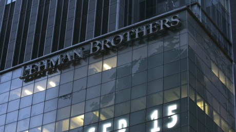Lehman Brothers world headquarters is shown in New York, the day the 158-year-old investment bank, choked by the credit crisis and falling real estate values, filed for bankruptcy.  (AP Photo/Mark Lennihan)