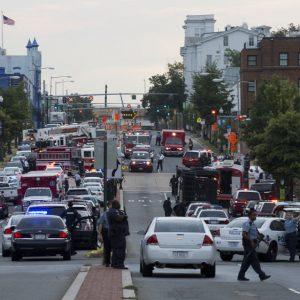 Scene on M Street, SE, following shooting at Washington Navy Yard. (AP/Jacquelyn Martin)