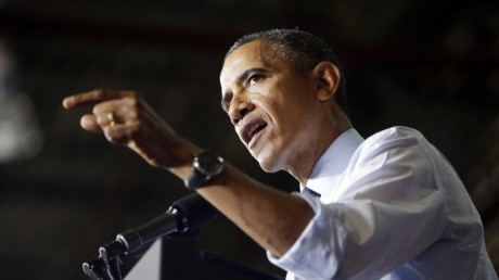 President Barack Obama gestures as he speaks to workers at the Ford Kansas City Stamping Plant in Liberty, MO. (AP Photo/Pablo Martinez Monsivais)
