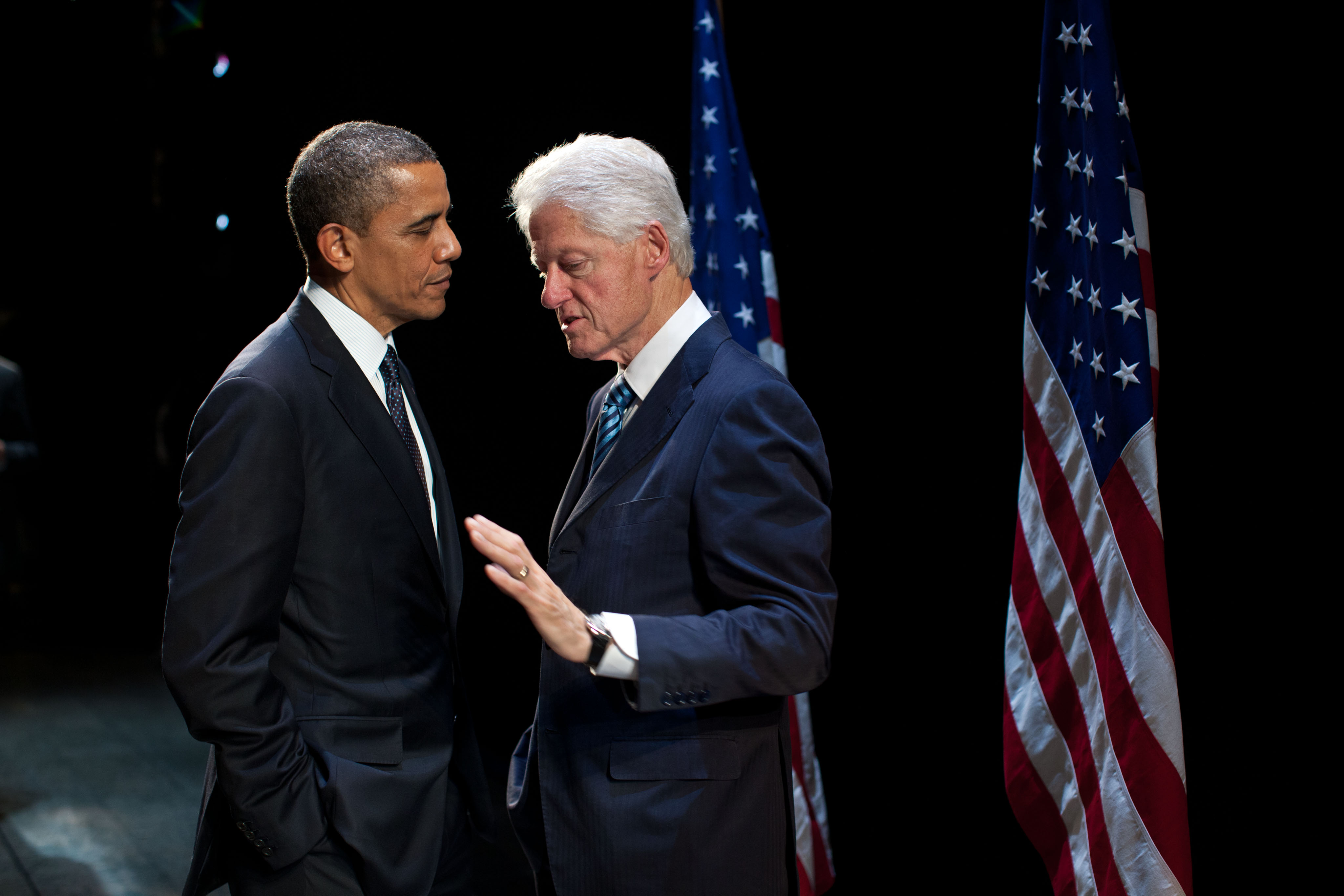 President Barack Obama and former President Bill Clinton: Together again.  (Official White House Photo by Pete Souza)